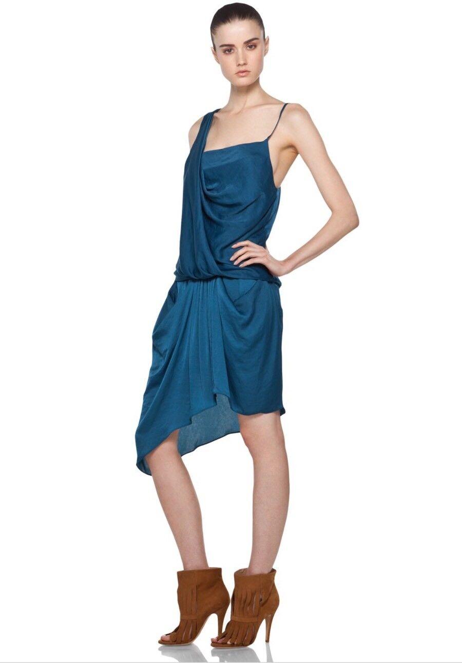 NWT Helmut Lang Belted Pocket Cobalt Blau Dress C01HW502 - Größe 4