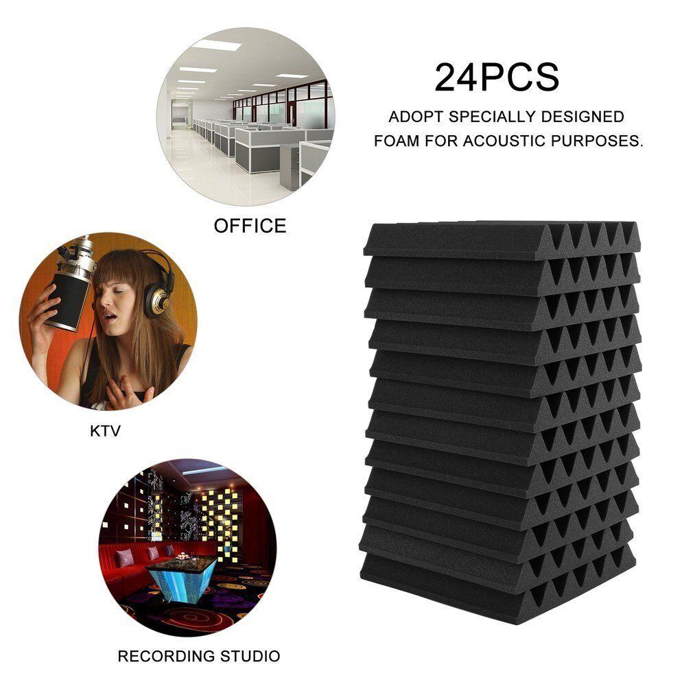 12/24PCs Acoustic Panels Tiles Studio Sound Proofing Insulation Closed Cell Foam 2