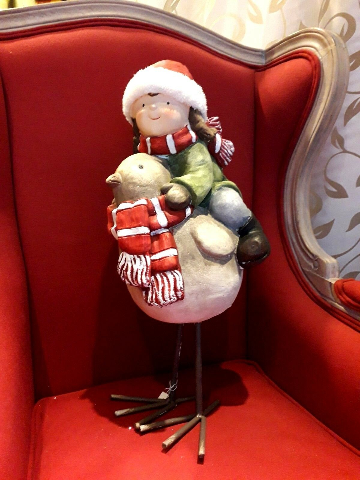Girl With Sparrow OrnaHommest Christmas Ceramic with Iron Legs and Fur cm53