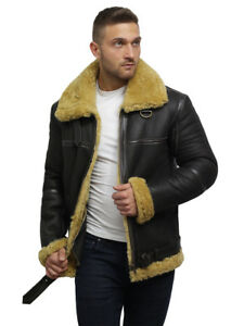 cb296b257 Details about Brandslock Mens Real Shearling Sheepskin Leather Bomber  Flying Jacket
