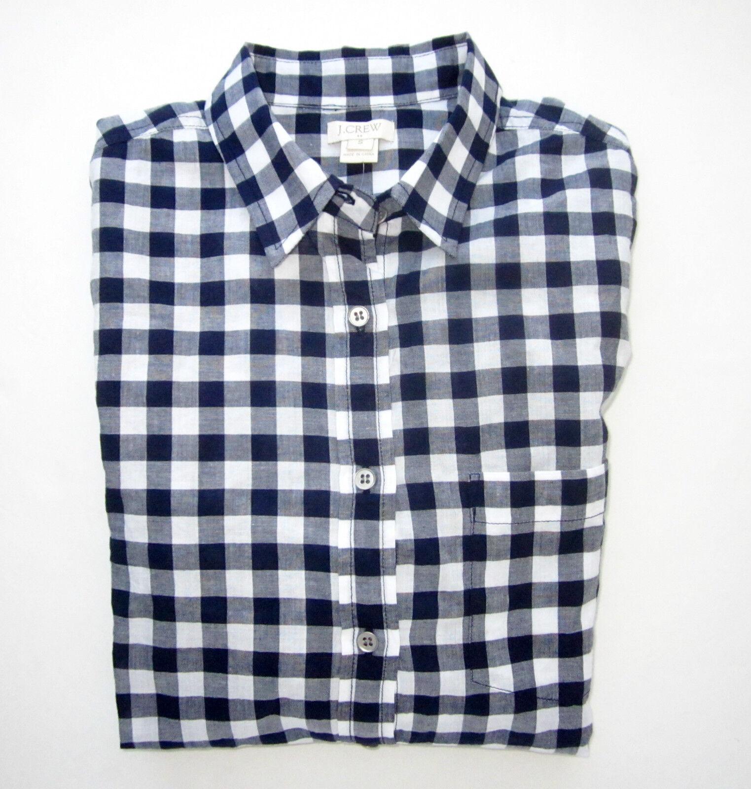 NWT J. Crew Woherren Gingham Plaid Classic Shirt Button Down Blouse M L XL