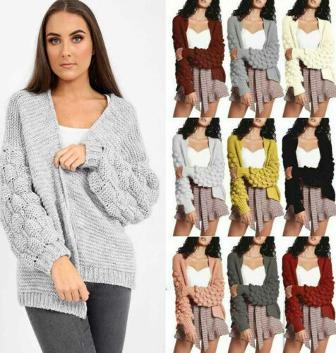 Ladies Women Bobble Bubble Knit Sleeve Cardigan Chunky Knitted Jumper Sweater