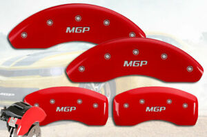 Set of 4 MGP Caliper Covers 32014SMGPRD MGP Engraved Caliper Cover with Red Powder Coat Finish and Silver Characters,