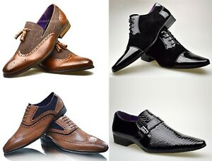 MEN-039-S-FORMAL-SLIP-ON-LACE-UP-PATENT-BUCKLE-PATTERN-LOAFERS-SHOES-SIZE-UK-6-11
