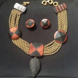 cff98b6b3e7 Image is loading Yves-Saint-Laurent-Vintage-Jewellery-Tribal-Necklace-amp-