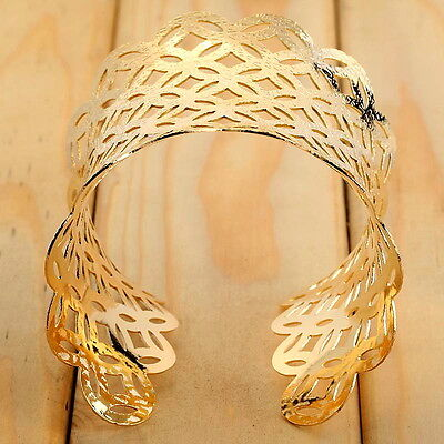 YazilindWomen Fashion Gold Plated Concave Hollow-Out Cuff Wide Bangle Gift