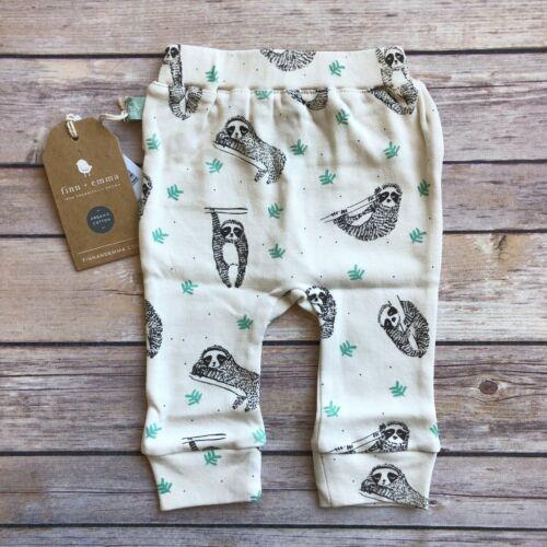 Finn Emma Baby Infant Straight Leg Pants 100/% Organic Cotton Sloth New