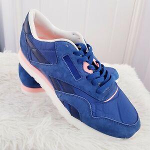 Reebok Classique Bleus Daim Nylon Baskets Rétro. Taille UK 9 EUR 43 Lacets