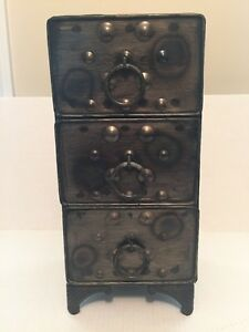 Brown-Metal-Decorative-3-Drawer-Table-Top-Storage-Chest