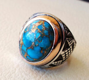 925-STERLING-SILVER-NATURAL-BLUE-COPPER-TURQUOISE-GEMSTONE-MENS-RING-JEWELRY