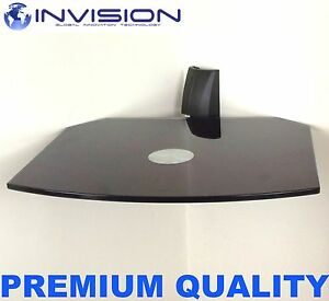 Floating-Black-Glass-Wall-Mount-Bracket-Shelf-for-SKY-Box-PS3-DVD-HiFi-Units