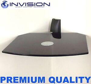 Floating-Black-Glass-Wall-Mount-Bracket-Shelf-for-SKY-Box-PS3-DVD-amp-HiFi-Units