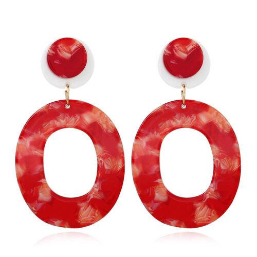 Fashion Femmes Acrylique Géométrique Pendentif Dangle Hoop Statement Boucles D/'oreilles Bijoux