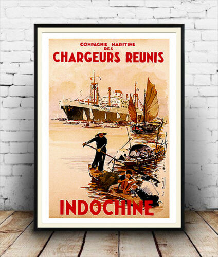 Indochine Wall art. Reproduction Vintage Travel advert poster