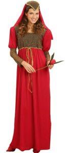 Déguisement Femme Princesse Medievale Rouge M/l Adulte Moyen Age Neuf Conduire Un Commerce Rugissant