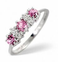 Pink Sapphire and Diamond Engagement Ring Three Stone Trilogy White Gold