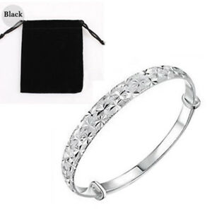 Women-925-Sterling-Silver-Bangle-Cuff-Charm-Bracelet-Jewelry-Women-With-Bag