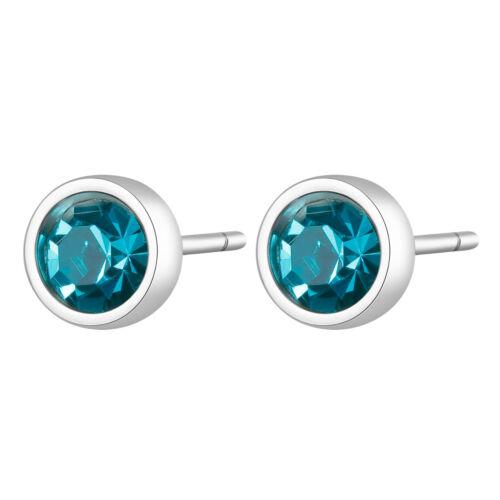 Sagapo Orecchini a Lobo rotondi Donna Acciaio cristalli azzurri Click SCK25