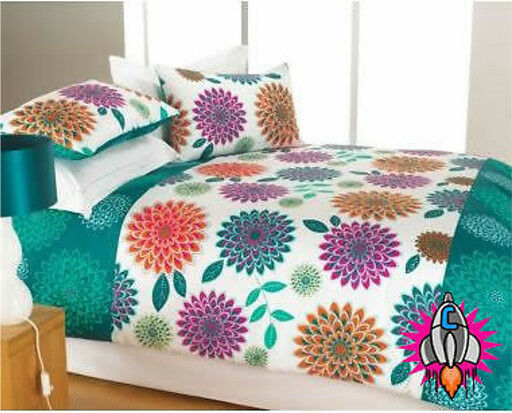 NEW RETRO VINTAGE PEONY GREEN 60S 70S KING SIZE BEDDING BED DUVET COVER SET NEW