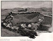 Casalborgone: Panorama. Torino. Piemonte. Stampa Antica + Passepartout. 1901