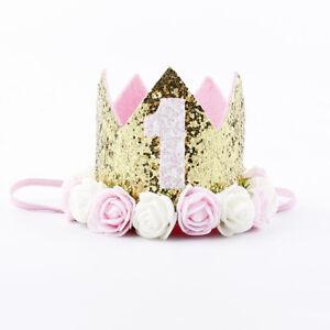 Baby Geburtstag Hut Kronen-Haar-Band Blumen-Kopfbedeckung 1 Jahre Alt