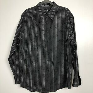 Beverly-Hills-Polo-Club-Mens-XXL-Paisley-Black-Long-Sleeve-Button-Front-Shirt