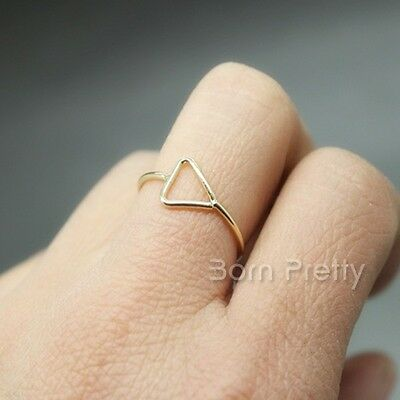 1Pc Triangle Geo Pattern Ring Hollow-out Design Adjustable Midi Open Ring
