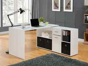 Image Is Loading White Black Oak Wood Corner Computer Pc Work