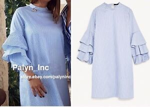 08d32f29bd13 NWT ZARA 2017 WHITE/SKY BLUE STRIPED DRESS WITH FRILLED SLEEVES_Size ...