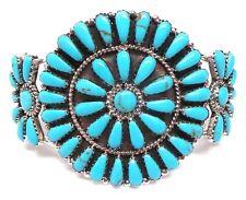 Navajo Handmade Turquoise Cluster Sterling Silver Bracelet - Rosanna Williams