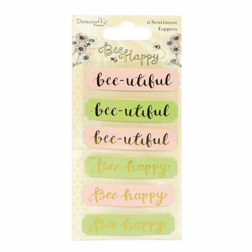 6 BEE HAPPY Sentiment Banners Card Making Scrapbook Craft Embellishments Toppers