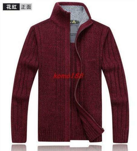 Mens Zip Sweater Knitted Cardigan stand collar Warm thick Coat Jacket Wool Blend