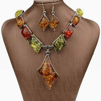 Stunning Colorful Bib Chain faux amber Earrings Statement  Necklace Jewelry Set