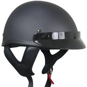 Outlaw T69 DOT Flat Black Motorcycle Skull Cap Half Helmet w/ Removable Visor