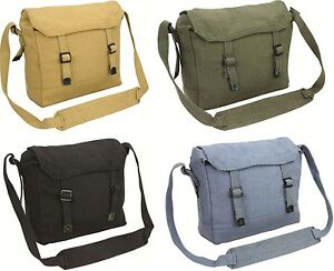 Image is loading Reclaimed-Vintage-Style-Canvas-Webbing-Military-Messenger- Side- 46eda432ca83