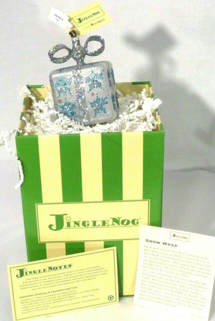 "JingleNog Snow Wrap Blue-Silver Glass Christmas Ornament 4""H Poland NIB"