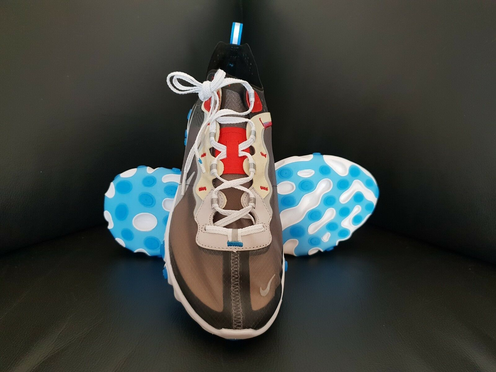 Nike React Element 87, Dark Grey   Photo bluee, (AQ1090-003), 10 US