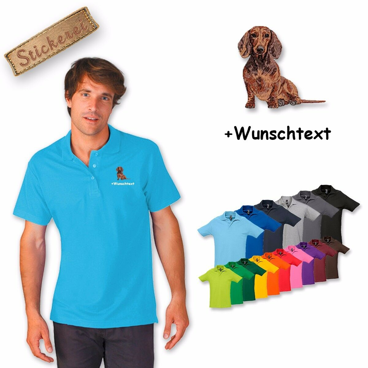 Polo Shirt Cotton Embroidered Dog Dachshund 1 + Text of your choice