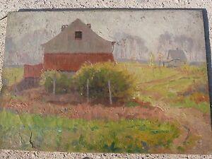 Paesaggio-con-case-Olio-su-tela-Firmato-E-Mahaux-Primi-039-900