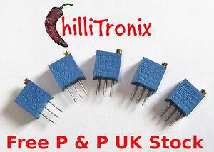 5-pack-10K-trimmer-potentiometer-3296W-for-LCD-contrast-Arduino-Raspberry-Pi-UK