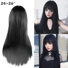 "25"" Synthetic Glueless Full Hair Natural Black Straight Long Wigs neat bang"