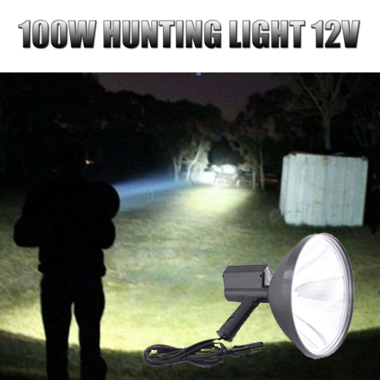 100W Buffalo River Handheld Hunting Spot Light Lamp Lamping Foxing Shooting 12V