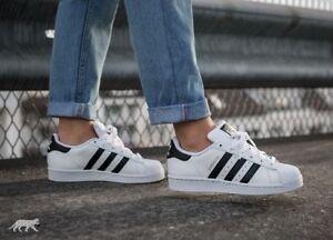 SCARPE-ADIDAS-Superstar-Originals-bianca-strisce-nera-pelle-C77154-sneakers