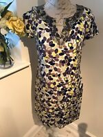 Boden Blue Yellow Silk Blend Shift Tunic Dress Embellished Beaded Size 8