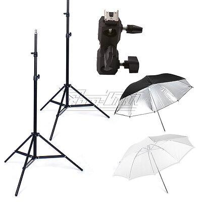 White Black Silver Umbrella 2xLight Stands Flash mount bracket Speedlight UK