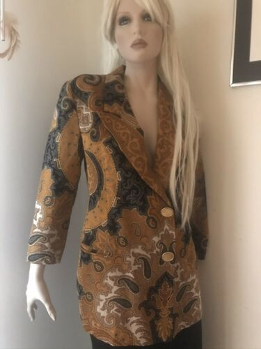 Vintage Italian Paisley Blazer Jacket Gold Paisley