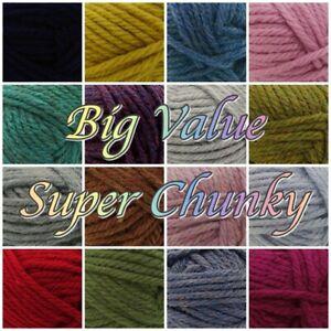 King-Cole-Big-Value-Super-Chunky-Acrylic-Knitting-Crochet-Yarn-Wool-100g