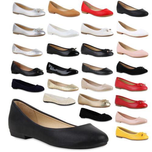 lassische Damen Ballerinas Leder-Optik Freizeit Flats Schuhe 810010 Trendy