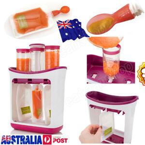 AU New Baby Feeding Food Squeeze Station Toddler Infant Fruit Maker Dispenser EE