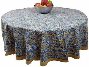 Handmade-Floral-Berry-Print-100-Cotton-Tablecloth-72-034-inches-Round